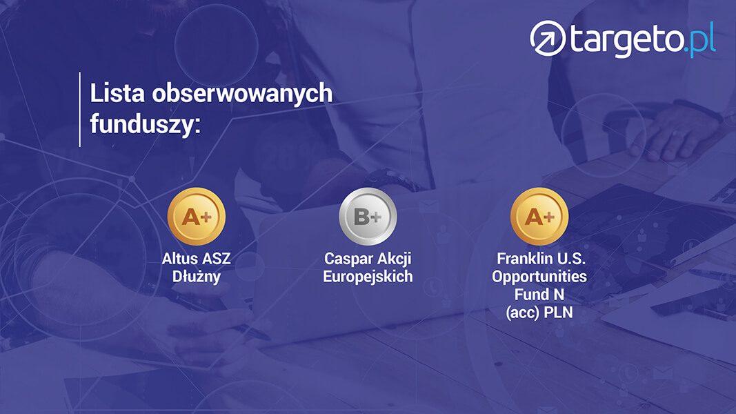 Lista obserwowanych funduszy: Altus ASZ Dłużny, Caspar Akcji Europejskich, Franklin U.S. Opportuniuties Fund