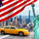 amerykańska flaga, statua wolności, amerykańska taksówka, dane z USA