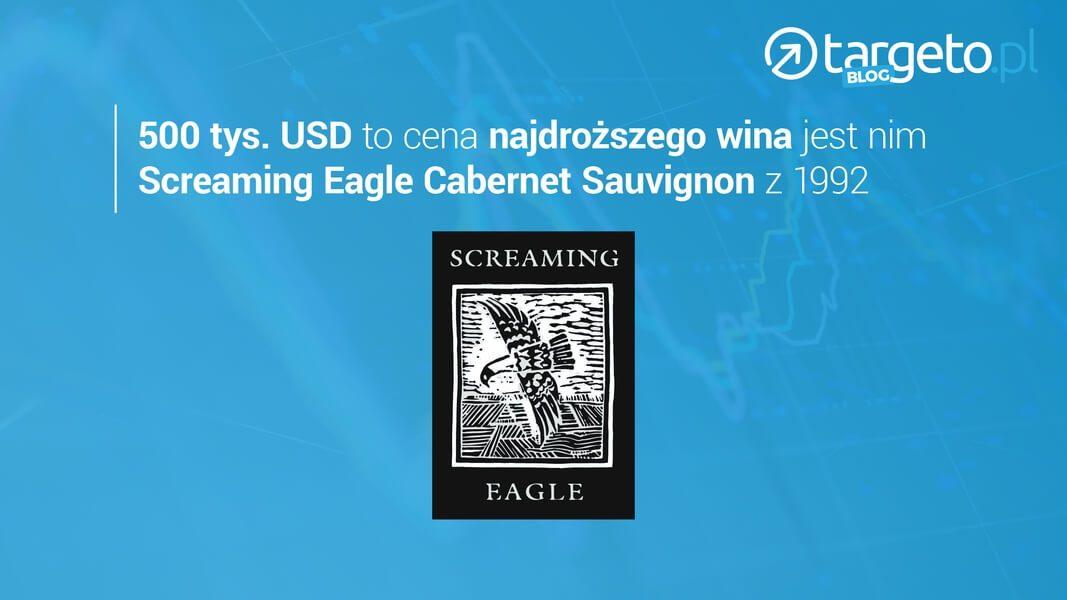 500 tys. USA to cena najdroższego wina jest nim Screaming Eagle Cebernet Sauvignon z 1992